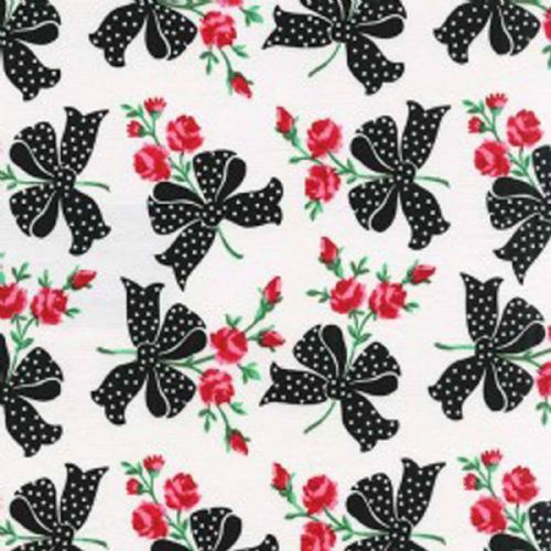 Michael Miller - Faye Retro Florals (Black) Fabric